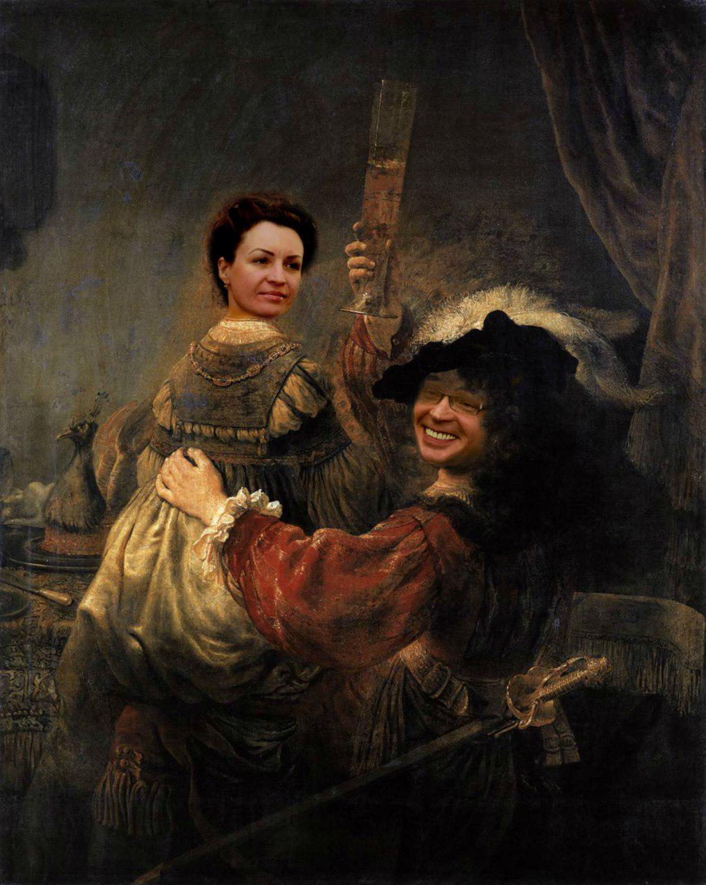 Автопортрет Буркова с Фадиной на коленях